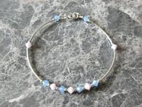 Baby Blue & Pink Austrian Crystals Bangle Bracelet With Sterling Silver Curve Tubes | Silver Sensations